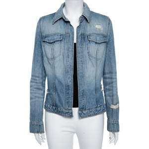 Dolce & Gabbana Vintage Blue Distressed Denim Open Front Jacket M
