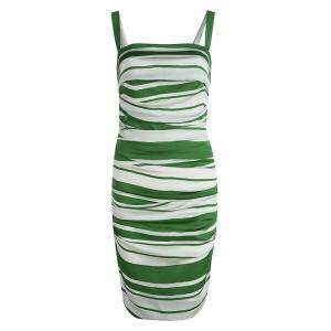 Dolce & Gabbana Green and White Striped Silk Ruched Sleeveless Dress M