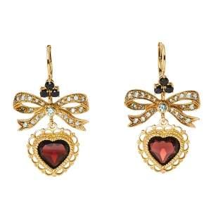 Dolce & Gabbana Bow Heart Multicolor Sapphire Garnet 18k Yellow Gold Leverback Earrings
