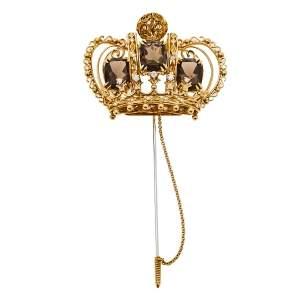 Dolce & Gabbana Crown Smoky Quartz Diamond 18k Yellow Gold Stick Pin Brooch