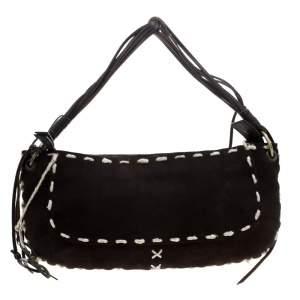 Dolce and Gabanna Dark Brown Suede Shoulder Bag
