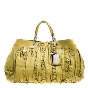 Dolce & Gabbana Olive Green Leather Miss Brooke Tote