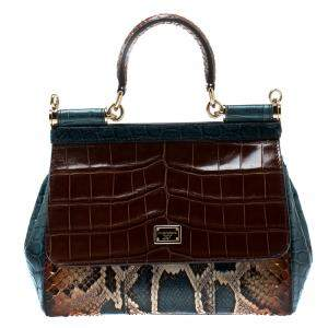 Dolce & Gabbana Multicolor Exotic Patchwork Small Miss Sicily Tote