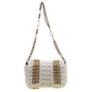 Dolce & Gabbana White Crochet Fabric Miss Charles Shoulder Bag