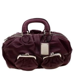 Dolce & Gabbana Burgundy Leather Miss Curly Bag