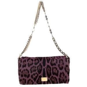 Dolce & Gabbana Purple Leopard Print Calfhair Chain Shoulder Bag