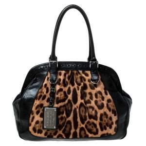 Dolce & Gabanna Black/Brown Leopard Print Calfhair and Leather Miss Romantique Satchel