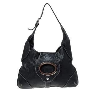 Dolce & Gabbana Black Pebbled Leather Ring Shoulder Bag