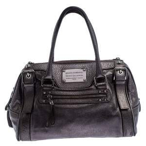 Dolce & Gabbana Metallic Grey Leather Miss Easy Way Boston Bag