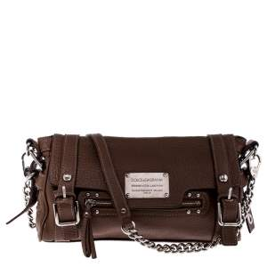 Dolce & Gabbana Brown Leather Easy Way Satchel