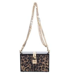 Dolce & Gabbana Black/Brown Leopard Print Acrylic Box Bag