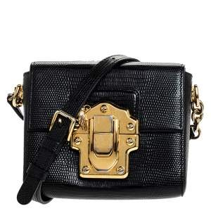 Dolce & Gabbana Black Lizard Mini Lucia Crossbody Bag