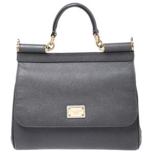 Dolce & Gabbana Dark Grey Leather Medium Miss Sicily Top Handle Bag