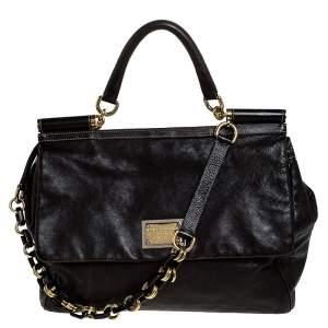 Dolce & Gabbana Dark Brown Leather XL Miss Sicily Top Handle Bag