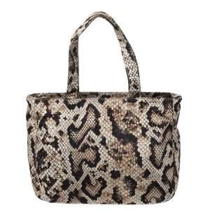 Dolce & Gabbana Beige/Black Python Print Fabric Tote