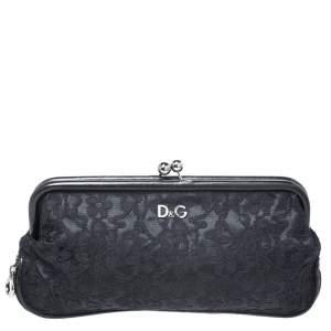 Dolce & Gabbana Black Lace Kiss Lock Clutch