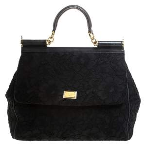 Dolce & Gabbana Black Lace Large Miss Sicily Top Handle Bag