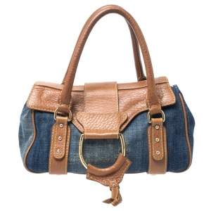 Dolce & Gabbana Blue/Brown Denim and Leather Flap D- Ring Satchel