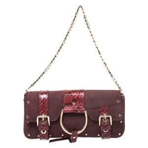 Dolce & Gabbana Burgundy Suede and Python Trim Chain Bag