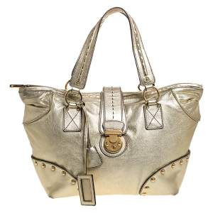 Dolce & Gabbana Metallic Gold Leather Shoulder Bag