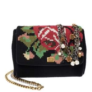 Dolce & Gabbana Black Floral Cross Stitch Fabric Miss Charles Crossbody Bag