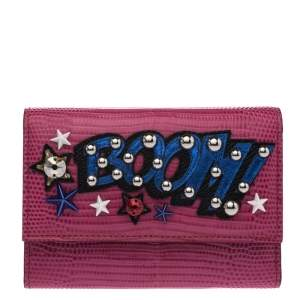 Dolce & Gabbana Fuchsia Lizard Embossed Leather Compact Wallet