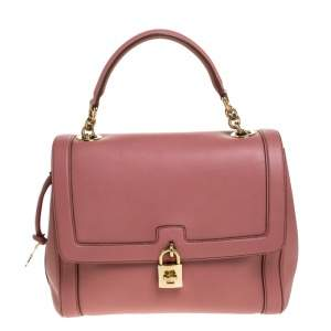 Dolce & Gabbana Old Rose Pink Leather Miss Dolce Top Handle Bag