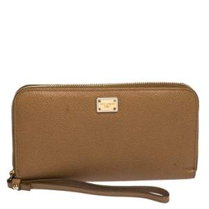 Dolce & Gabbana Tan Leather Strappy Zip Around Wallet