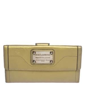 Dolce & Gabbana Metallic Gold Leather Logo Plaque Continental Flap Wallet