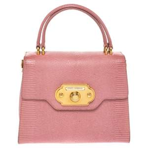 Dolce & Gabbana Pink Lizard Embossed Leather Welcome Top Handle Bag