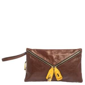 D&G Tan/Yellow Leather Wristlet Clutch