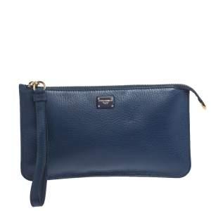 Dolce & Gabbana Blue Leather Wristlet Clutch