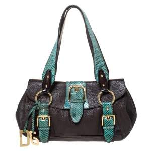 Dolce & Gabbana Brown/Green Leather and Ayers Buckle Flap Satchel