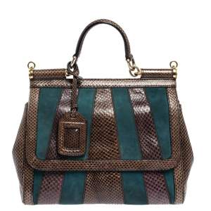 Dolce & Gabbana Brown/Teal Striped Suede and Python Medium Miss Sicily Top Handle Bag