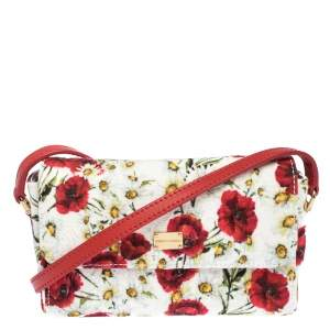 Dolce & Gabbana Multicolor Floral Print Canvas and Leather Bambino Shoulder Bag