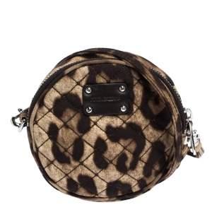 حقيبة كروس دولتشي أند غابانا مستديرة صغيرة جداً قماش مطبوع نقشة الفهد بني