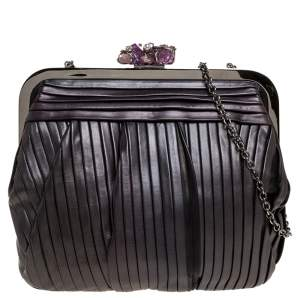 Dolce & Gabbana Black Pleated Leather Crystal Embellished Frame Chain Clutch