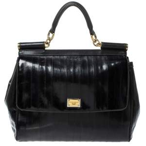 Dolce & Gabbana Black Striped Leather Large Miss Sicily Top Handle Bag