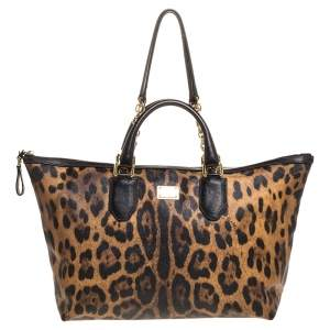 Dolce & Gabbana Beige/Black Leopard Print Coated Canvas and Leather Zip Tote