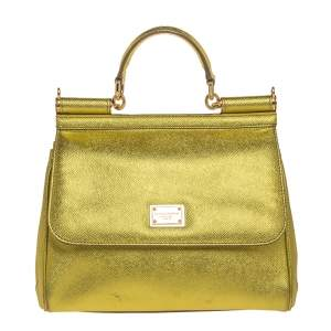Dolce & Gabbana Metallic Lemon Leather Medium Miss Sicily Top Handle Bag