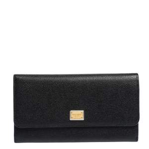 Dolce & Gabbana Black Grained Leather Flap Continental Wallet