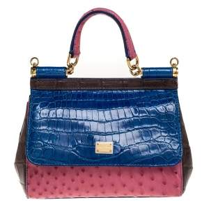 Dolce & Gabbana Multicolor Crocodile and Ostrich Small Miss Sicily Top Handle Bag