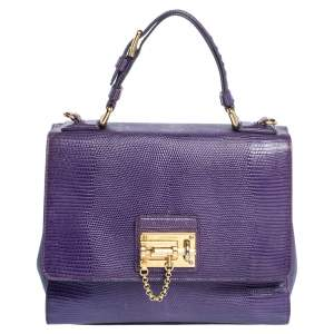 Dolce & Gabbana Purple Lizard Embossed Leather Medium Miss Monica Top Handle Bag