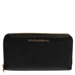 Dolce & Gabbana Black Leather Zip Around  Wallet