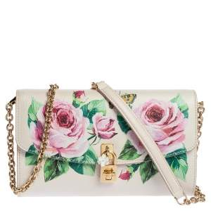 Dolce & Gabbana Rose Print Leather Miss Dolce Chain Shoulder Bag