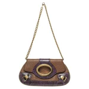 Dolce & Gabbana Tan/Purple Leather and Python Chain Clutch
