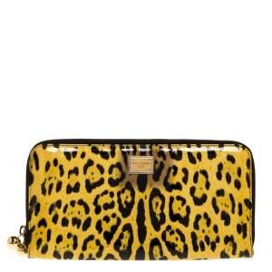 Dolce & Gabbana Yellow/Black Leopard Print Patent Leather Zipped Clutch