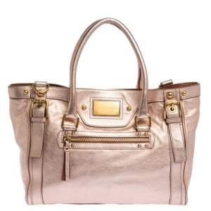 Dolce & Gabbana Metallic Peach Leather Miss Easy Way Tote