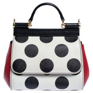 Dolce & Gabbana Tri Color Polka Dot Leather Mini Miss Sicily Crossbody Bag