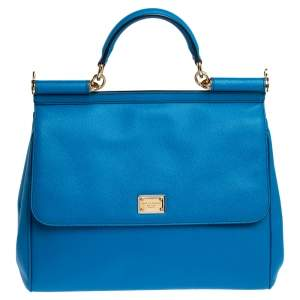 Dolce & Gabbana Royal Blue Leather Large Miss Sicily Top Handle Bag
